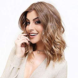 "SPEEDM Fashion Short Bob Wigs 14"" Shoulder Length Soft Silk Synthetic Kanekalon Dark Roots Ombre Blonde Color Women's Wavy Wigs with Free Wig Cap (Ombre Brown)"