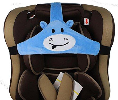 MINGZE Baby Autositz Kopfunterstützung, Auto Sicherer und gemütlicher Schlafpositionierer, Einstellbar Sicherheitssitz Befestigungsgurt, Protektor Kopfstütze Nackenstütze für Kinder Baby (Blau)