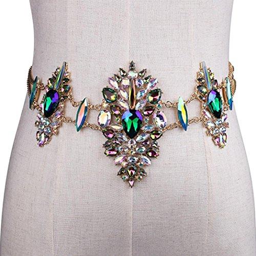 - UMFun Body Chain,Women Crystal Rhinestone Belly Chain Waist Chain Belt Beach Bikini Chain Harness Jewelry For Nightclub Party (Blue)