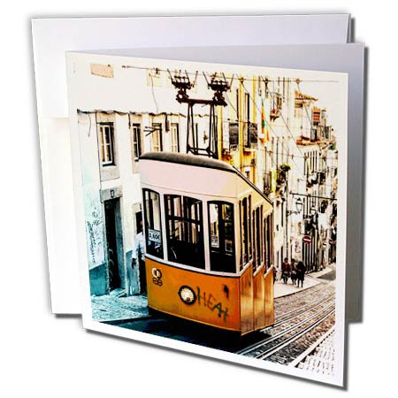 - 3dRose RinaPiro - Transportation - Trolley. Streetcar. Tram. Electric rail vehicle. Old town. - 12 Greeting Cards with envelopes (gc_261460_2)