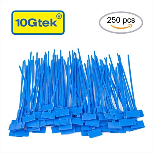 Zip Ties Tags Nylon Self-Locking Cable Ties Marker Labels, 44 lb Tensile Strength, Perfect for Home, Office, Garage and Workshop Cable Management (5.9 Inch, 250pcs, Blue)