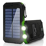 Ayyie Solar Charger,10000mAh Solar Power Bank Portable External Backup Battery Pack Dual USB Solar Phone Charger with 2LED Light Carabiner and Compass for Your Smartphones(Green)