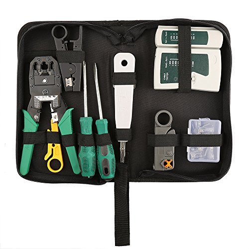 Network Tool Kits Professional- Net Computer Maintenance LAN Cable Tester 9 in 1 Repair Tools,8P8C RJ45 Connectors ,Cable Tester,Screwdriver ,Crimp Pliers ,stripping pliers Tool - 8p8c Connector Crimp