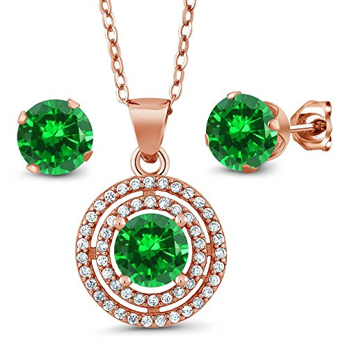 Gem Stone King 5.14 Ct Round Green Simulated Emerald 925 Rose Plated Silver Pendant Earrings Set