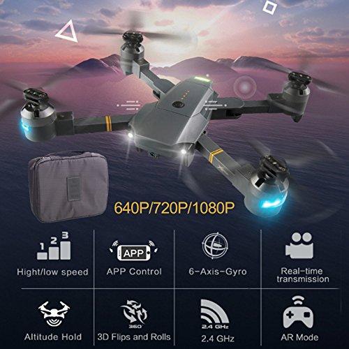 UAV Drone Quadcopter con inducción de la gravedad fijo plegable fotografía aérea de vuelo Drone 1080P Gran Angular 4CH Velocidad ajustable One Key Take Off para Xt-1 + bolsa de almacenamiento