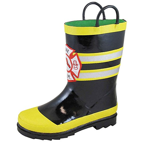 Smoky Mountain Toddler Boys Fireman Black/Yellow Rubber Chore Boots 6 - Kids Rubber Boots Fireman