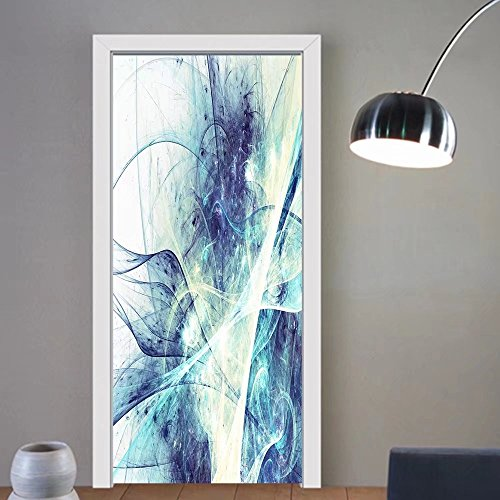 Carolyn J. Morin custom made 3d Door Wall Mural Wallpaper abstract beautiful bright blue color background dynamic smoke painting texture modern futuristic For Room Decor 30x79