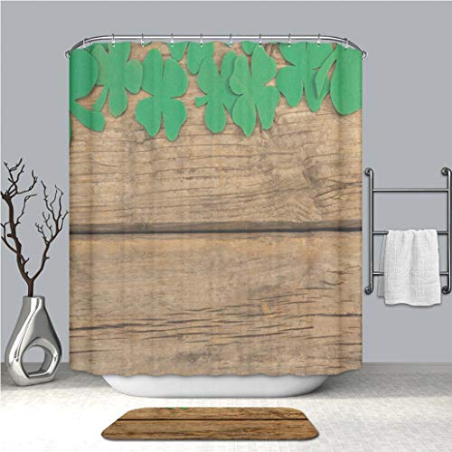 BEICICI Shower Curtain and Bath mat Rug St Patricks Day Shamrock Beer Bottle and Pot Filled with Chocolate Gold Coins Custom Stylish,Waterproof,Mildew Proof Bathroom Set -