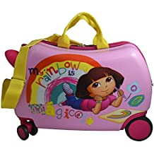 "Nickelodeon Dora the Explorer Kids CarryOn Luggage 20"" SeatOn Ride-On Suitecase (Pink)"