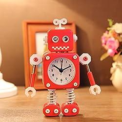 robot alarm small alarm clock student clock alarm lovely children's cartoon metal alarm clock TA11215101 ( Color : Red )