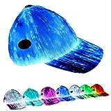 GALEXBIT Baseball Caps Optical Fiber Fabric Baseball Hat Light Up Luminescent Fiber Light Up 7 Colors LED Flash Light RGB Colors a Hat Has 7 Colors White