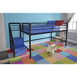 DHP Junior Twin Metal Loft Bed with Storage Steps, Space-Saving Solution, Multifunctional, Black with Blue Steps 17