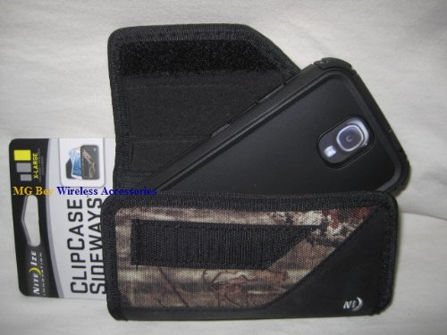 Nite Ize Black/Camouflage Mossy Oak Extended Sideways Horizontal Rugged Heavy Duty X-large Case Cover W/Durable Fixed Belt Clip Fits Samsung Galaxy S4 IV I9500/ L720 / M919/ R970 / i337/ i545 /Active I537 S3/ S4 Body Glove Toughsuit Rugged