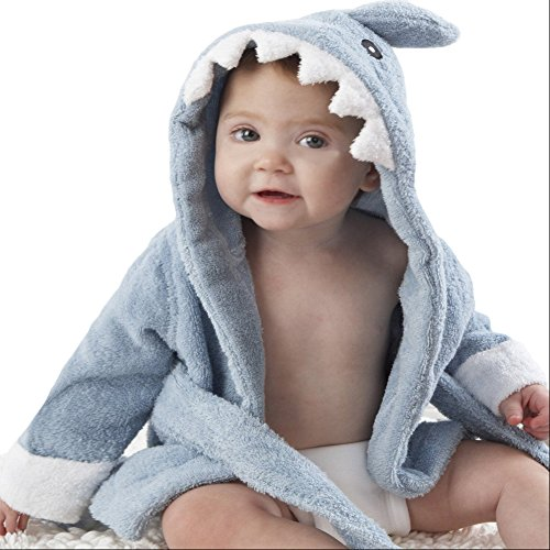 Carole Baby Boys/Girls Bathrope, Hooded Dressing Gown Supersoft Absorbent Cartoon Animal Flannel Sleepwear Nightwear Terry Towelling Bath Rope For Kids 0-3 Years (Blue Shark, 0-1 Years)