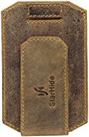 StarHide Men's Brown Real Distressed Hunter Leather Money Clip Ultra Thin Slim Credit Card Holder Wallet Case With Strong Magnet Clip | RFID BLOCKING Wallet - 725