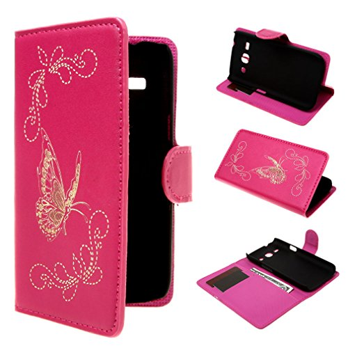 Galaxy Star 2 Plus G350E Case , Leathlux Magnetic Wallet Laser Butterfly Style Stand Leather Flip with Credit Card Holder Case Cover for Samsung Galaxy Star 2 Plus SM-G350E Rose