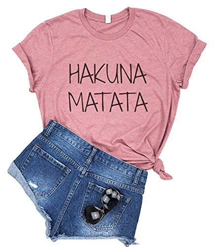 (YUYUEYUE Hakuna Matata Letter Print T Shirt Women Casual Short Sleep Top Tee(XX-Large))
