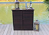 Pebble Lane Living Patio Wicker and Aluminum Handwoven Bar with Storage
