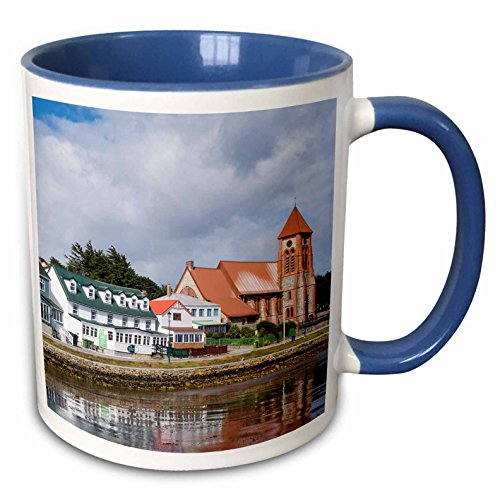 (3dRose Danita Delimont - Waterfront - The waterfront with the cathedral, Stanley, Falkland Islands - 15oz Two-Tone Blue Mug (mug_229085_11))