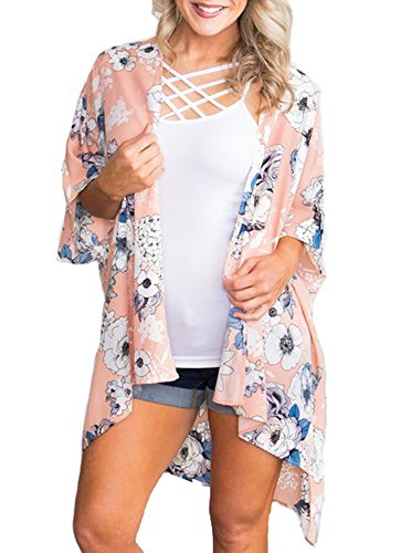 Kimono Pink Lady - PINKMILLY Women Floral Print Kimono Cover up Sheer Chiffon Blouse Loose Long Cardigan Dusty Pink Large