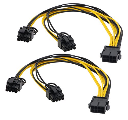 zdyCGTime 2 Pack 8 Pin PCI-E PCI Express Graphics Video Card 8 Pin GPU VGA Female to Dual 8Pin (6+2) Pin PCI-E Male Y Splitter Power Extension Cable 8 Pin - Vga Express Pci Dual