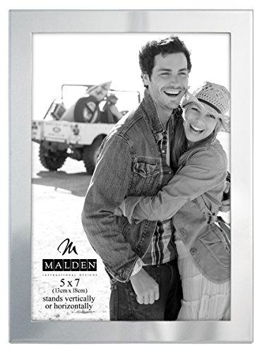 - Malden International Designs Essentials Silver Metal Engravable Picture Frame, 5x7, Silver