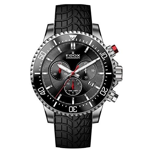 Edox Men's Edox Chronorally S 44mm Black Rubber Band Titanium Case Quartz Analog Watch 10227 TINCA NIN
