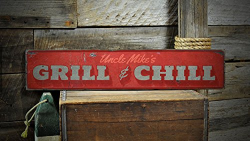 Grill & Chill Wood Sign, Custom Grill Master Name Sign, Distressed Man Cave Patio Decor - Rustic Hand Made Vintage Wooden Sign - 5.5 x 24 Inches