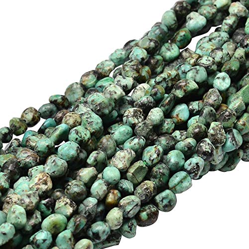 (B.D craft 5 Strands Green Natural African Turquoise Nuggets Beads Strands)