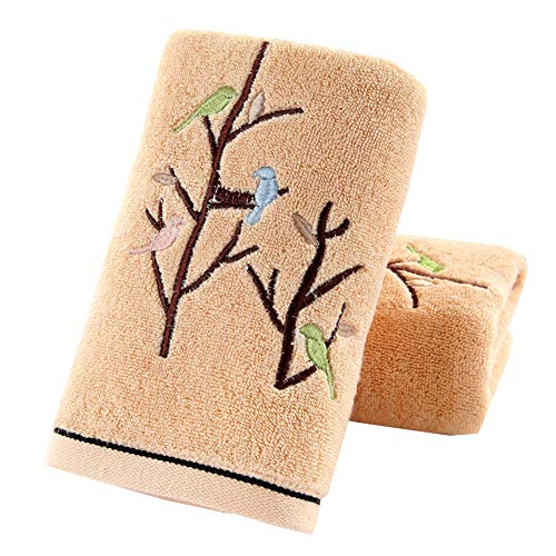 Pidada Hand Towels Set of 2 100% Cotton Bird Tree Pattern Highly Absorbent Soft Luxury Towel for Bathroom 13.8 x 29.5…