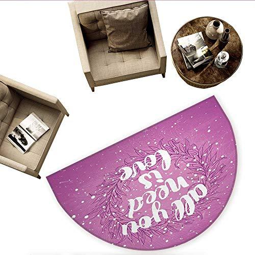 Love Half Round Door mats Valentines Day Concept Abstract Floral Wreath Brush Font Paint Splashes Grunge Look Bathroom Mat H 55.1