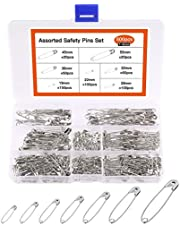 KUUQA 500 Count Safety Pins Assorted 19mm-54mm for Home Office Use DIY Art Jewelry Marking with Storage Box(7 Sizes)