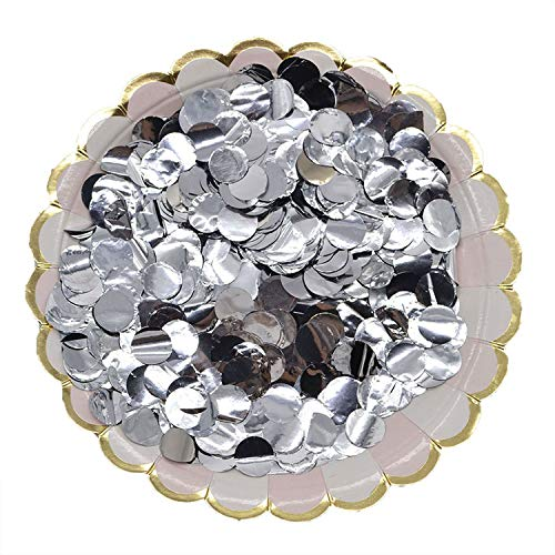 (Bright Colors Round Tissue Paper Confetti Sprinkles Dots Filling Balloons Wedding Birthday Party 1.5 cm 10 g/Bag Table Decorations,Silver)