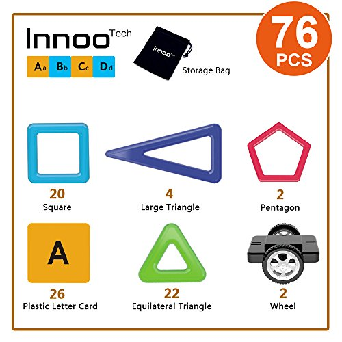Innoo Tech Magnetic Building Blocks | 76Piece | Let Your Kid Learn Colors & Shapes Through Play | Instruction Booklet & Storage Bag Included | Creative & Educational Gift for Kids by Innoo Tech (Image #1)