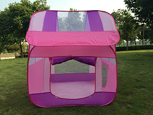 FinerKids Pop-up Play Tent, Large Indoor-Outdoor Kids Playhouse. Perfect for Boys & Girls 2, 3, 4, 5 & up. HOURS OF FUN. Easy-up House with Handy Carry Case, Ground Stakes. PROMISED to Keep 'em Busy!! price