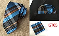 Xiessi Mens Multiple Color Plaid Winter Gift Tie,Pocket Square Silk Necktie Set