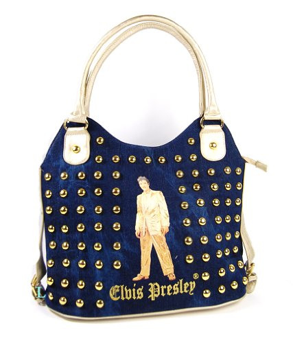 Elvis Presley EL1326 Large Tote Bag, Blue Jean with Studs Gold Trim