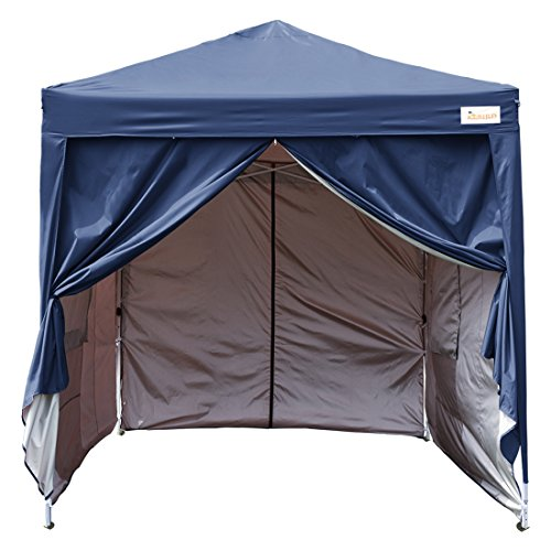 KING Kingbird 8 x 8 ft Easy Pop up Canopy Waterproof Party Tent 4 Removable Walls Mesh Windows with Carry Bag-6 Colors Navy Blue
