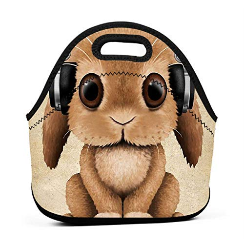 Bunny With Headphones Insulated Neoprene Lunch Bag Thermal Cooler Adjustable Strap Zipper Lunch Organizer Waterproof Tote Handbag Lunch Backpack for School Work
