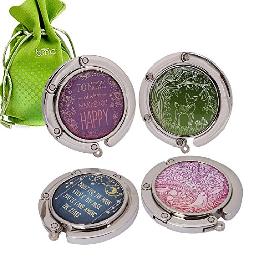 BMC 4pc Circle Quotes Design Shoulder Handbag Folding Purse Hangers Hook Set