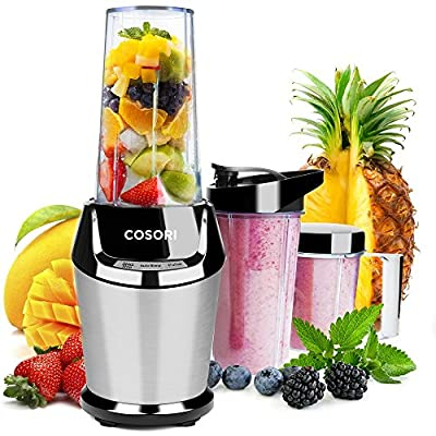 COSORI Smoothie Blender Personal Juicer, High Speed Single Serve Food Fruit Maker Mixer System with Travel Sport Bottles, Silver/800W