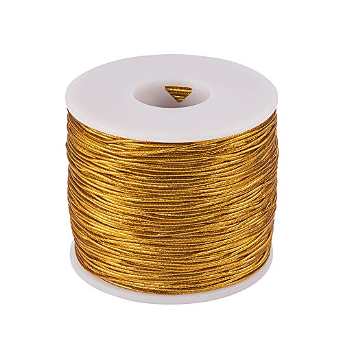 - PH PandaHall 1mm 100m/ 109 Yards Metallic Tinsel Elastic Cord Polyester Ribbon Stretch Beading Cord for Jewelry Making Gift Wrap Ribbon, Gold