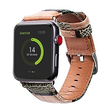 Aladrs - Correa de Piel auténtica Compatible con Apple Watch ...