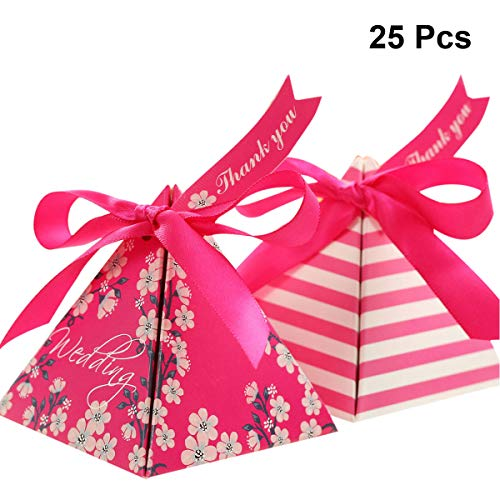 Favore Triangle Red Party con Double 25pcs Print Face Box Candy nastri Rose carte Yeahibaby Bella e Wedding TxPaAA
