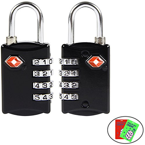 TSA approved Luggage Lock(2 packs),Disveo Resettable 4-digit Combo Combination Padlock Travel Lock for Suitcases