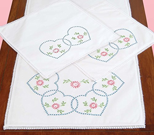 Jack Dempsey Stamped Dresser Scarf and Doilies Lace Edge, Starburst of Hearts