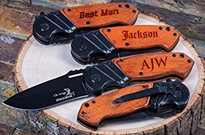 Personalized Engraved Groomsmen Gift Knife Custom Pocket Knives- Groomsman Husband Hunting Man Mens Boyfriend Wedding Gifts Folding Blade Rustic Buck Knifes Spring Assisted Opening