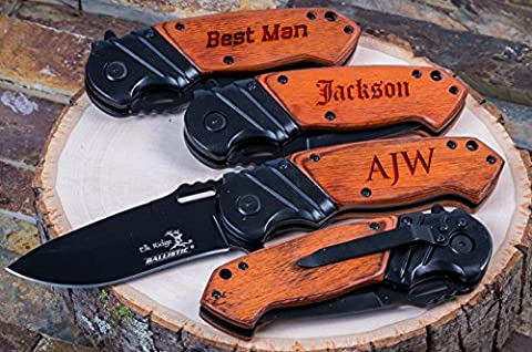 Personalized Engraved Groomsmen Gift Knife Custom Pocket Knives- Groomsman Husband Hunting Man Mens Boyfriend Wedding Gifts Folding Blade Rustic Buck Knifes Spring Assisted - Black Label Duffel