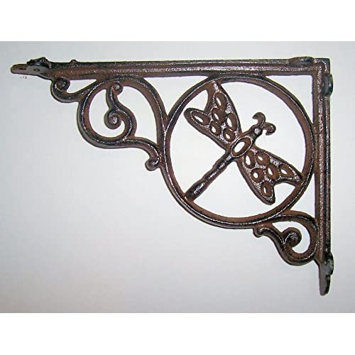 "Top ""ABC Products"" - Heavy Cast Iron - 8-3/4 Inch - Wall Bracket or Shelf Bracket With Dragonfly in a Circle - Primitive Design - (Antique Rustic Color - Accented With Swirls And Curls)x free shipping"