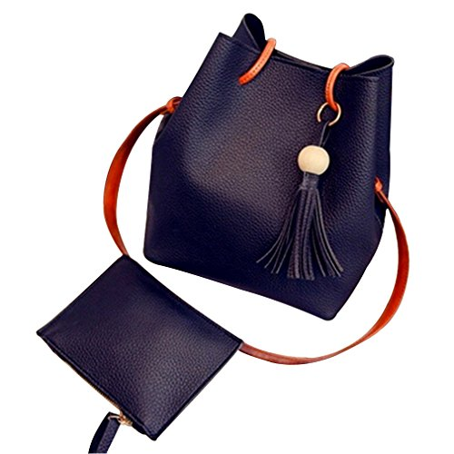 Bag Pu 2 Black HENGSONG Handbag Women Bag Messenger Leather Purse Set Fashion Ladies Black of tzU7Onzq